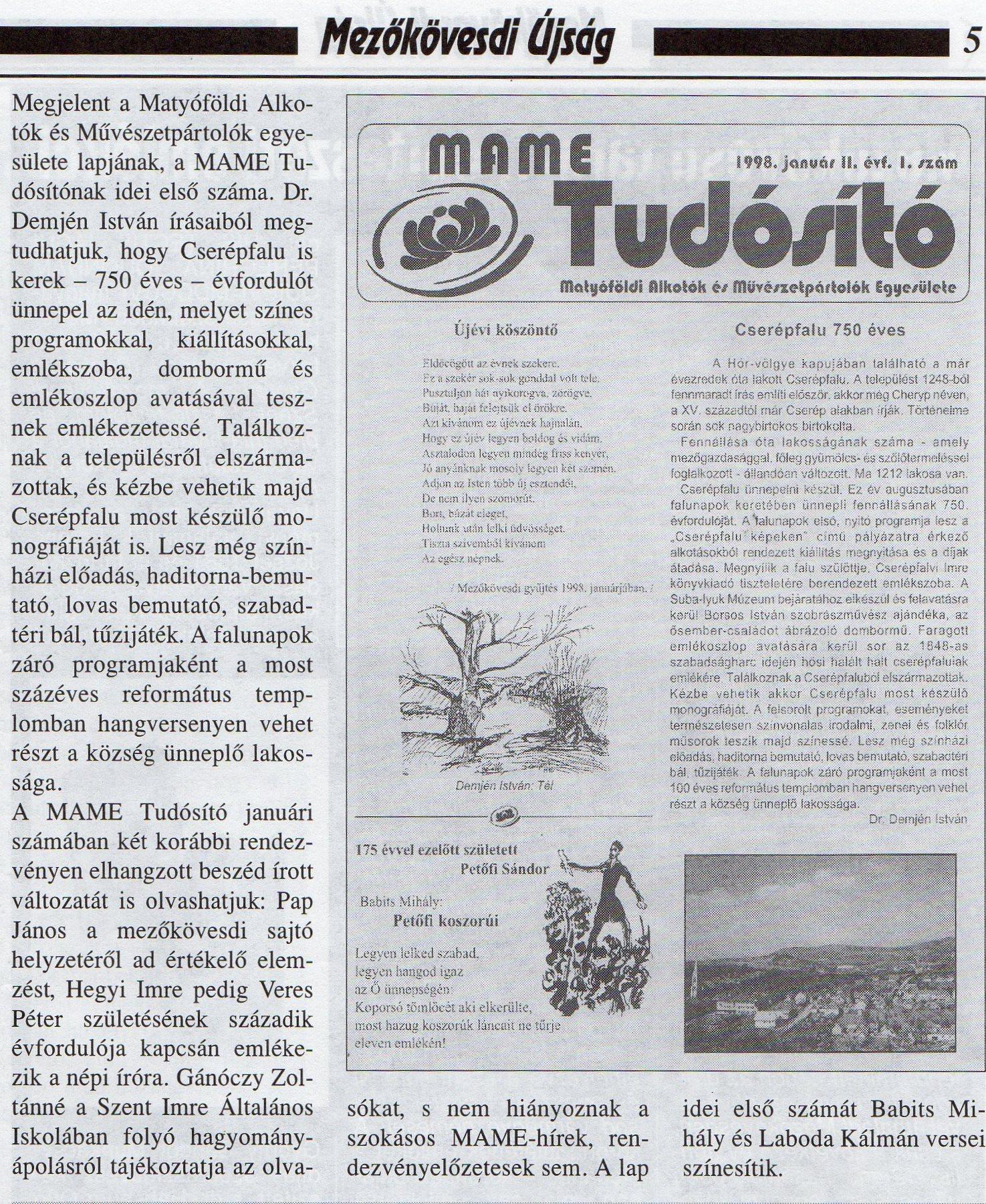 MAME Tudósító 1998 február 6.