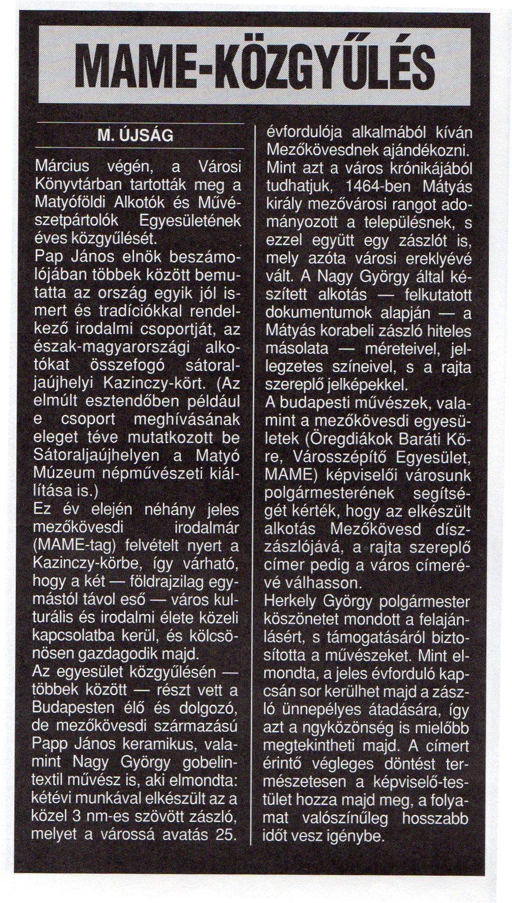MAME közgyűlés 1998 április 15.