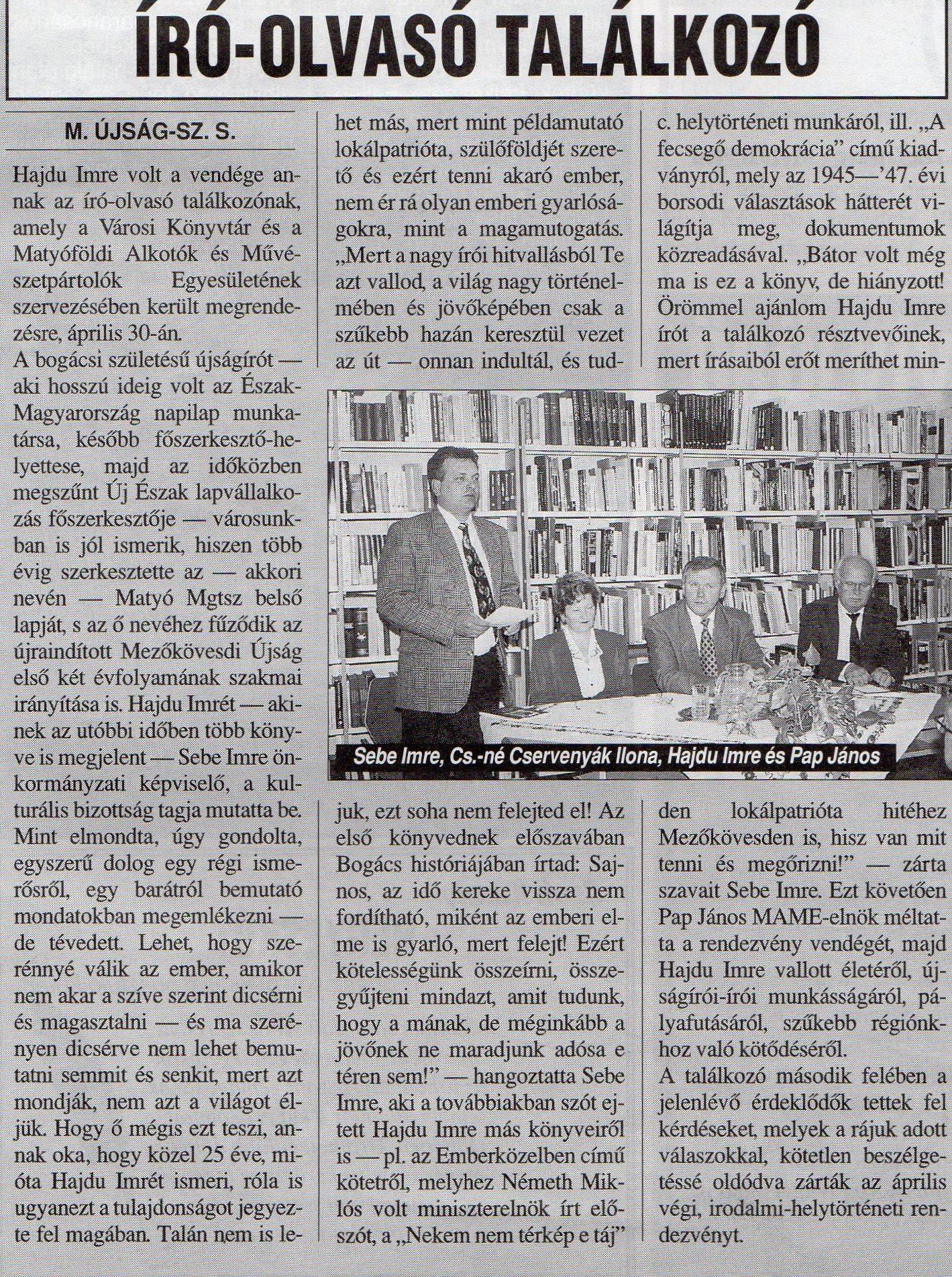 Hajdú Imre író-olvasó találkozó 1998 május 18.