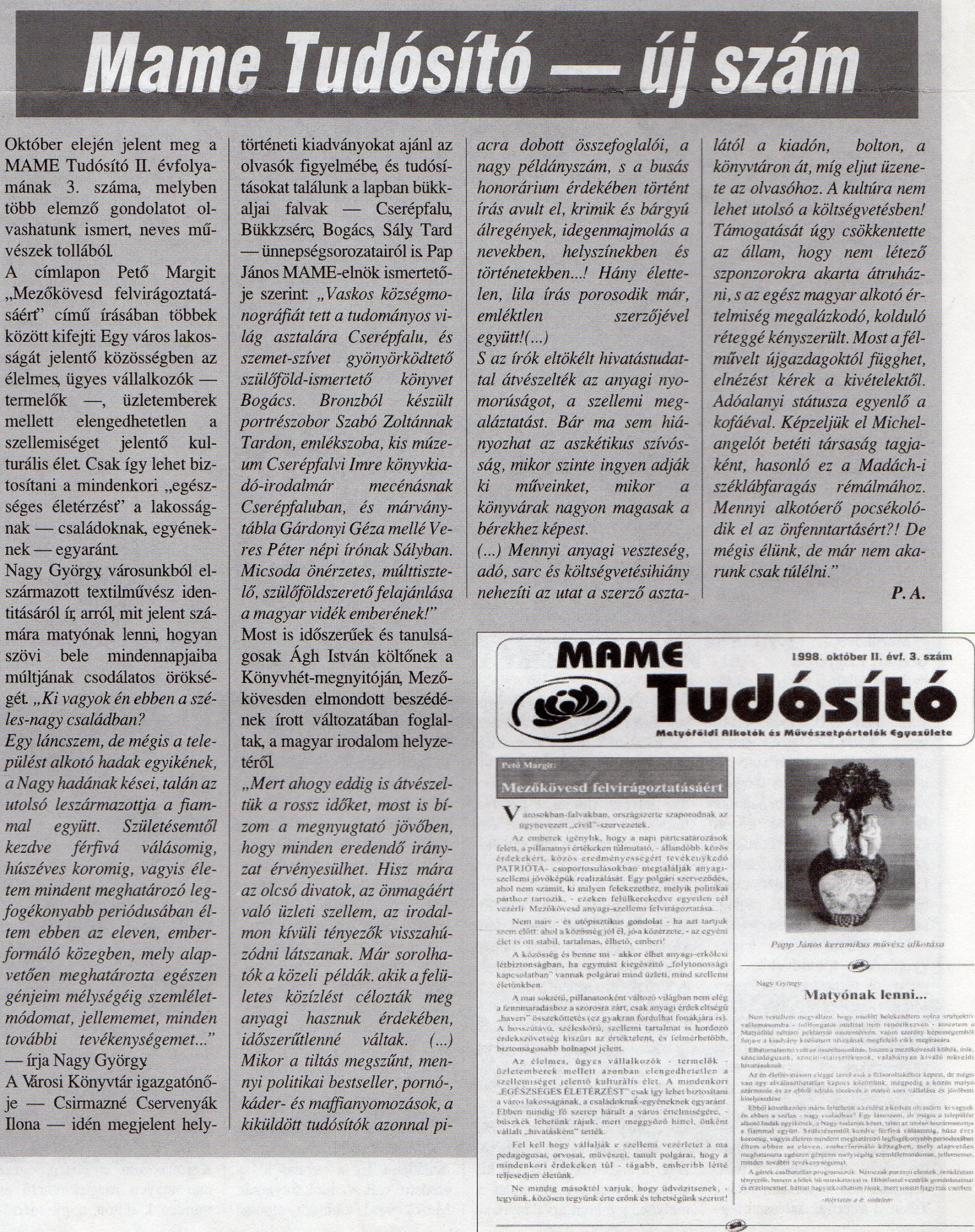 MAME Tudósító 1998 november 23.
